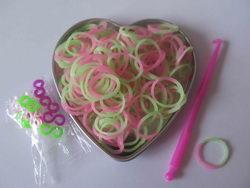 Pletací gumičky - zeleno růžové - světlé 95a4bdfa04